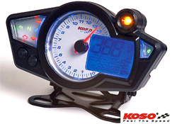 Koso RX1N White GP Style Motorcycle Speedo Digital and Analog Display