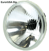 7 Inch Dip to the Right Euro Motorcycle Headlight Inner Reflector and Glass Unit