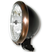 Bates Style Headlight with Copper Effect Rim LHD Only Bottom Mount