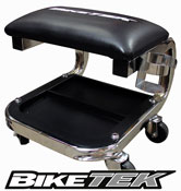 BikeTek Motorbike Jumbo Chrome Workshop Creeper Seat