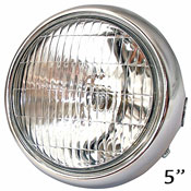 5 Inch Universal Motorcycle Headlight Chromed Metal Back