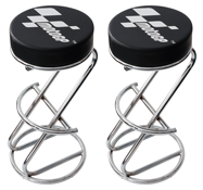 Two MotoGP Motorcycle Showroom or Workshop Bar Stools