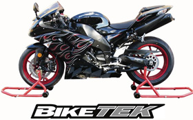 BikeTek Motorbike Track Day Paddock Stand Set Front and Rear