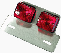 Twin Square Rear Motorcycle Stop and tail Lamp with Hanger