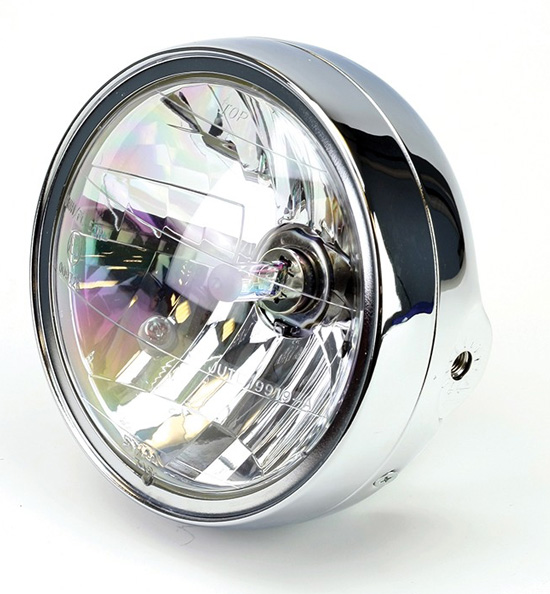 "Universal 7"" Motorcycle Chrome Headlight, dip to right"