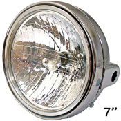 7 Inch Universal Motorcycle Headlight Chromed ABS Back