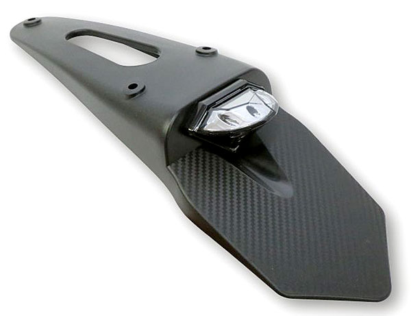 Shin Yo Enduro Style LED Rear Stop and Tail Light with Carbon Mudguard