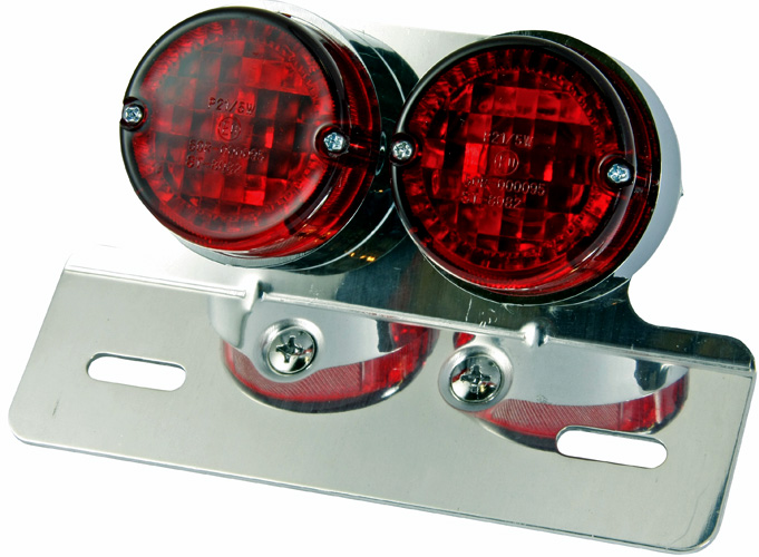 Bikermart Twin Rear Motorcycle Chrome Stop Lamp With Numberplate Hanger Rear Stop Amp Tail Lights