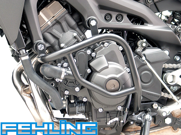 Yamaha MT09 2013 onwards Fehling Engine Protection Crash Bars Black